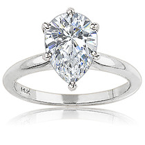 Pear Cut Cubic Zirconia Classic Solitaire Engagement Ring