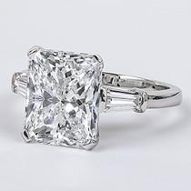 Starburst Emerald Cut CZ Baguette Solitaire Engagement Ring