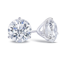 14K white gold cubic zirconia round martini stud earring