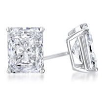 Starburst Radiant Emerald Cut Cubic Zirconia Earring Stud in 14K white gold