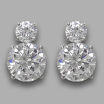 Lindsay Round Cubic Zirconia Drop Earrings