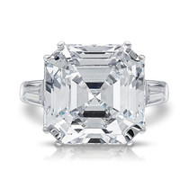 Jazz Double Prong Asscher CZ Baguette Solitaire Ring