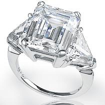 Emerald Classic Cut Three Stone Cubic Zirconia Trillion Ring
