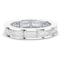 Emerald Cut Sideways Channel Set CZ Eternity Band