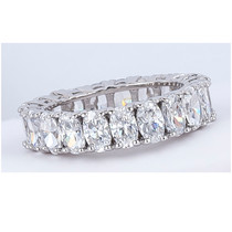 Oval Cubic Zirconia Prong Set Eternity Band