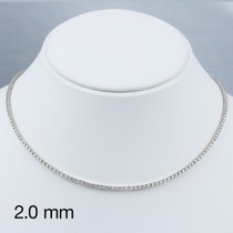 Classic Round Cubic Zirconia Eternity Tennis Necklace with 2.0mm Stones