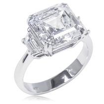 April Asscher with Trapezoids CZ Engagement Ring