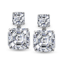 Emma Asscher Top with Asscher Drop Cubic Zirconia Earrings