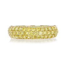 YELLOW DIAMOND CZ PAVE WEDDING BAND