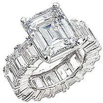 Emerald Cut Eternity Solitaire on Emerald Cut CZ Eternity Band