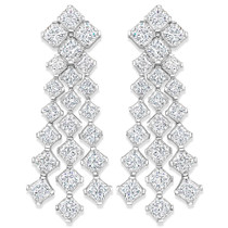 Mirabelle Princess Cut Cubic Zirconia Chandelier Drop Earrings