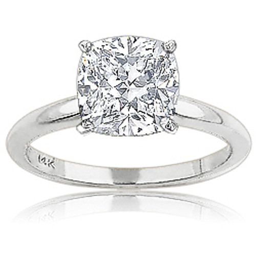 Cushion Cubic Zirconia Classic Solitaire Engagement Ring