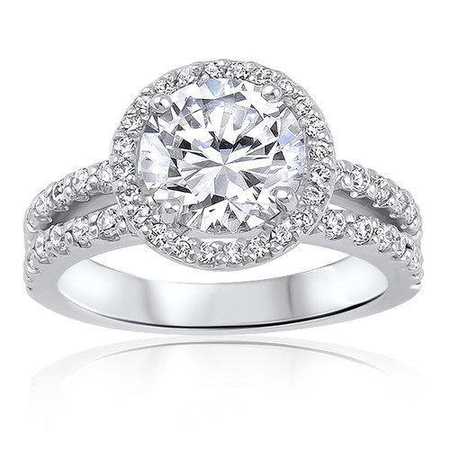 Amélie Round with Halo of Rounds Open Band Solitaire CZ Ring