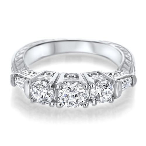Felicity Rounds with Baguettes CZ Estate Style Wedding Band