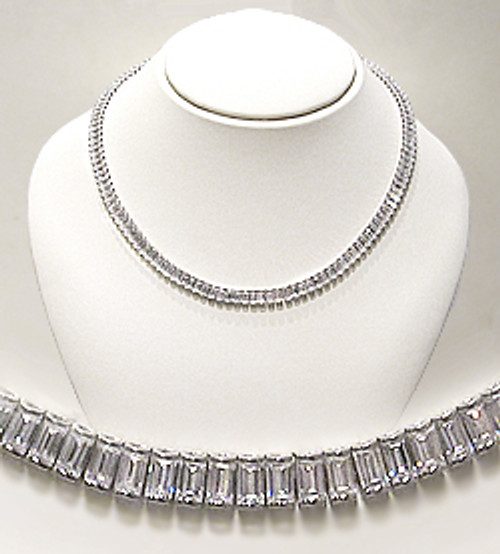 Emerald Cut CZ Curved Link Gillian Necklace, 64.0 Ct TW