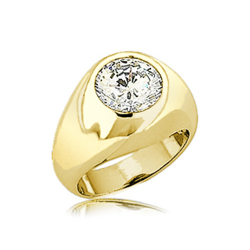 Bezel Round Gypsy Dome Cubic Zirconia Men's Ring