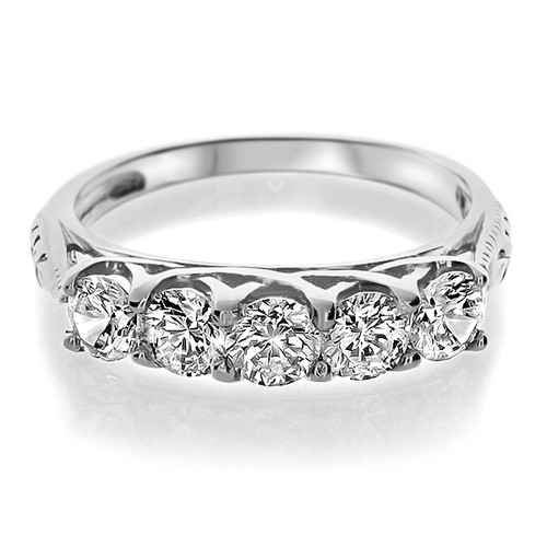 Crossed Wedding Bands.Natalie Rounds With Crossed Prongs 5 Stone Cz Wedding Band