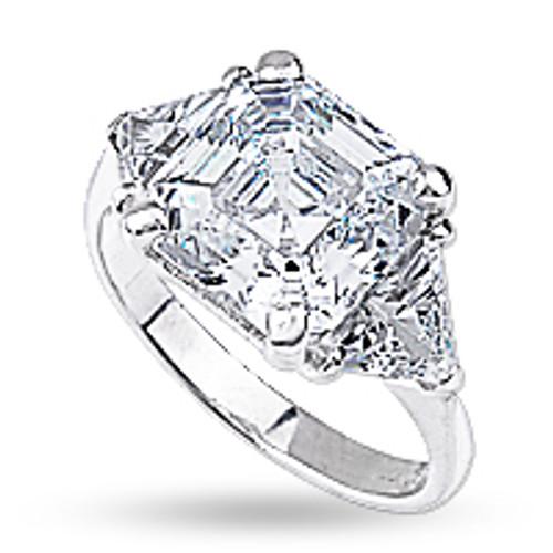 Asscher Center Three Stone CZ Trillion Ring