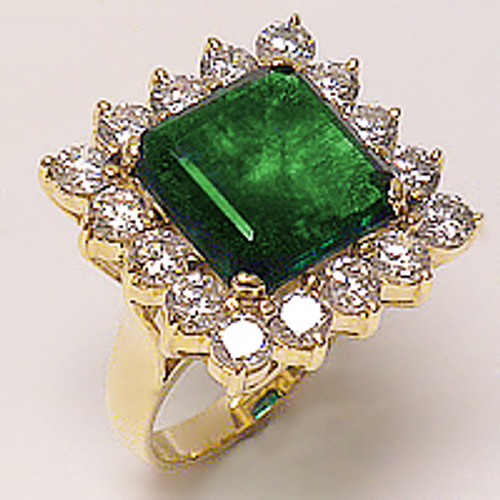 Square with Rounds Halo Cubic Zirconia Cluster Ring