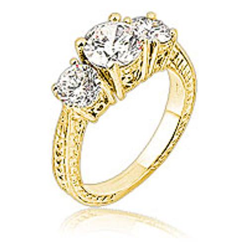 Trina Three Stone Rounds CZ Estate Style Ring 14K, 2.0 Ct TW
