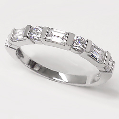 Baguettes and Rounds Anniversary Band Cubic Zirconia Ring