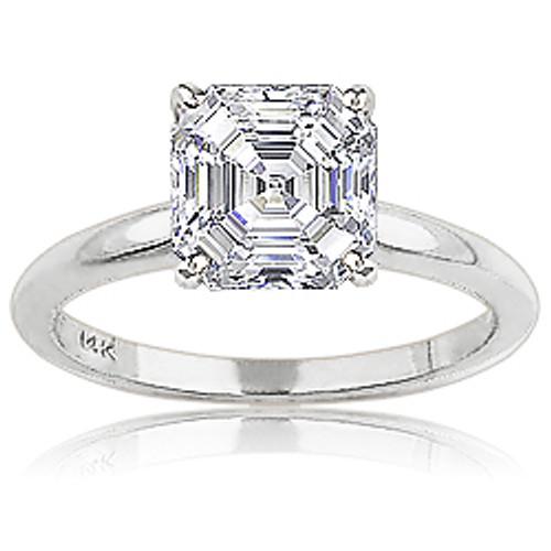 Asscher Cubic Zirconia Classic Solitaire Engagement Ring
