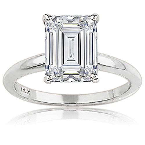 Classic Emerald Cut CZ Solitaire Engagement Ring
