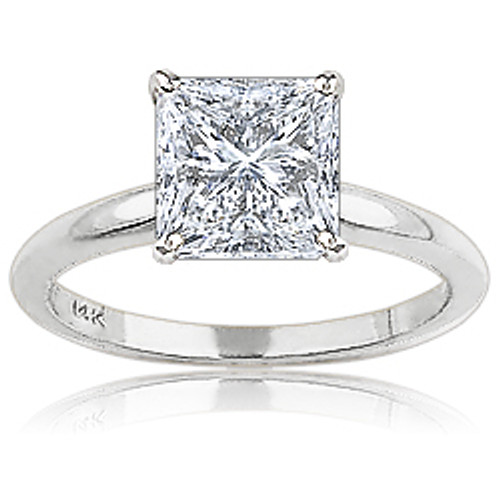 Princess Cut Square CZ Classic Solitaire Engagement Ring