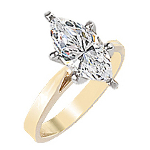 Marquise Cubic Zirconia Cathedral Solitaire Engagement Ring