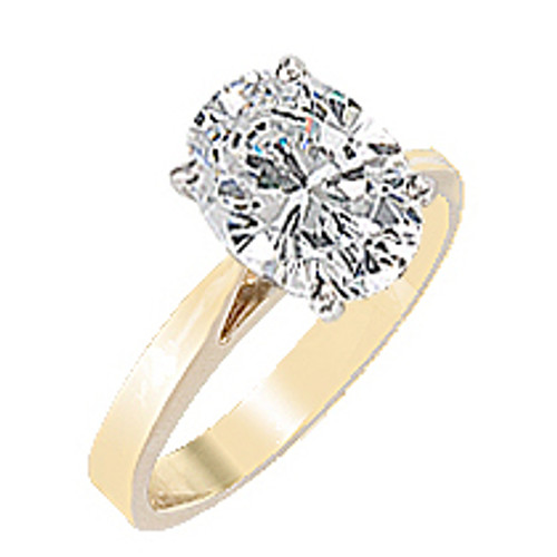 Oval CZ Cathedral Solitaire Engagement Ring