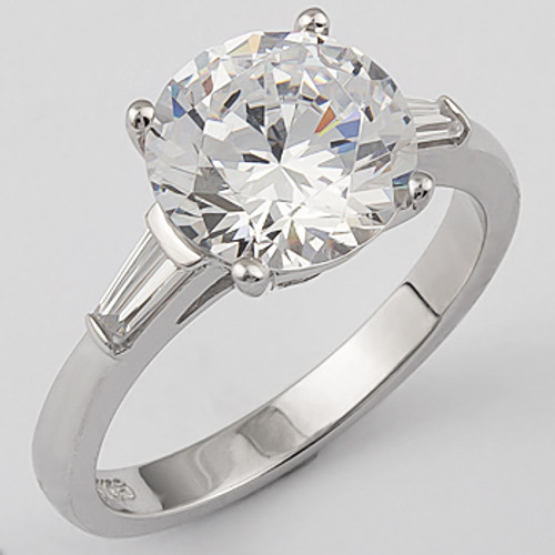 Round Cubic Zirconia Engagement Solitaire Baguette Ring