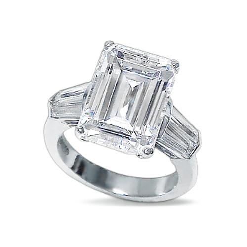 Emerald Classic Cut Double Baguette CZ Solitaire Engagement Ring