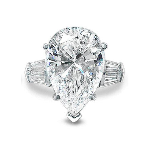 Pear with Double Baguettes Solitaire Engagement CZ Ring