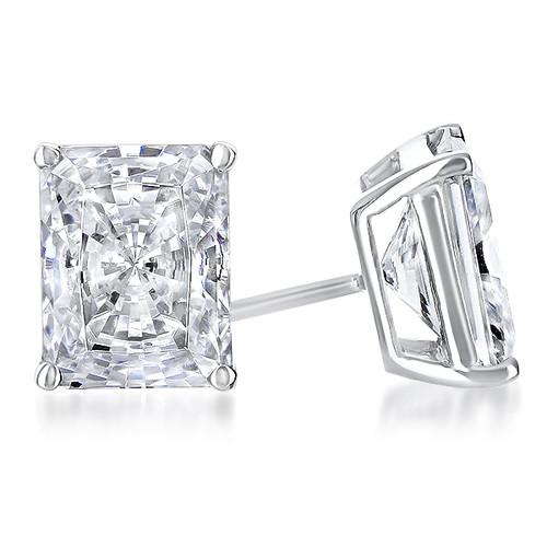 Starburst Radiant Emerald Cut Cubic Zirconia Earring Stud in 14K white gold