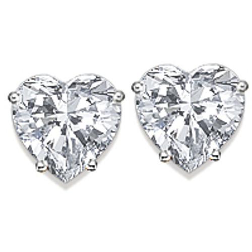 Heart Cut Cubic Zirconia Stud Earrings