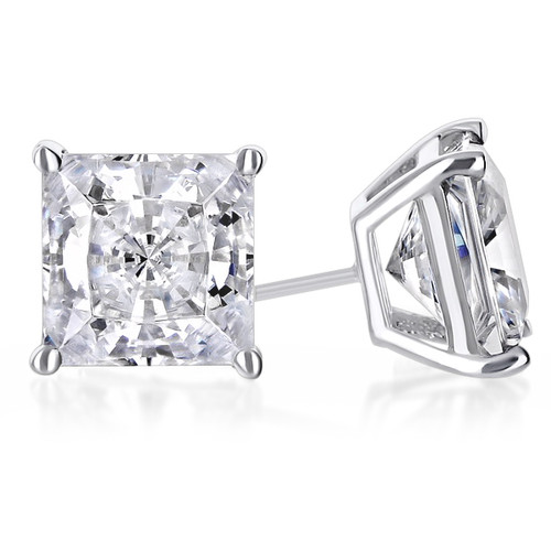 Cubic Zirconia Princess Cut Stud Earring in 14K white gold