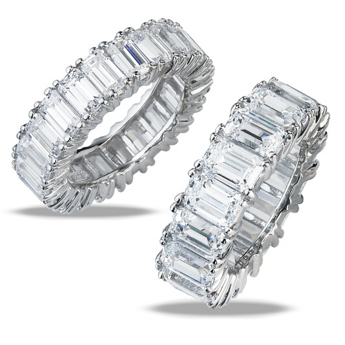 Emerald Cut Cubic Zirconia Eternity Bands in 14K or platinum