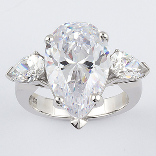 Stacey Pear Center with Pear Sides Three Stone CZ Ring