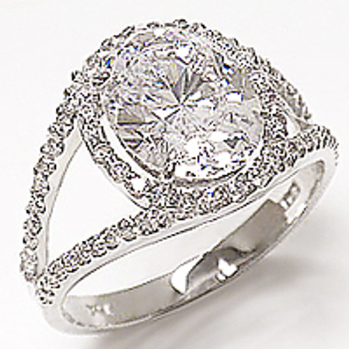 Angela Oval with Pave Halo Open Band CZ Ring , 2.86 Ct TW