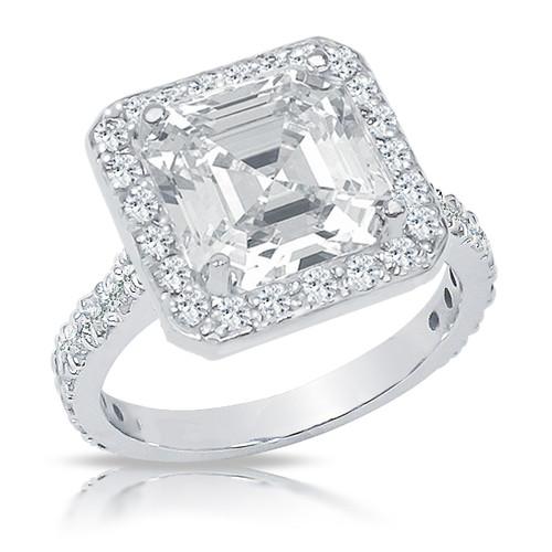 Brenina Asscher Cubic Zirconia Halo Solitaire Engagement Ring