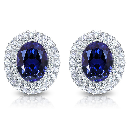 Nova Oval with Rounds Halo Cluster Earrings