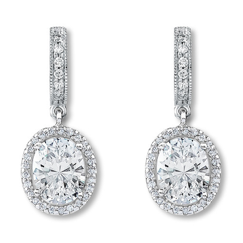 Anastasia Huggie Top Oval Drop Halo Earrings, 3.39 Ct T.W.