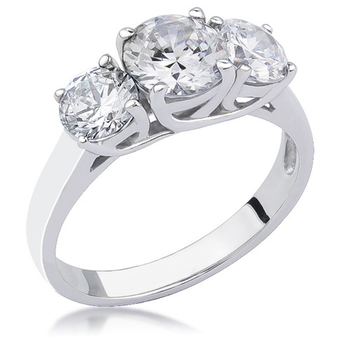 Arianna Rounds with Cross Basket CZ Three Stone Ring