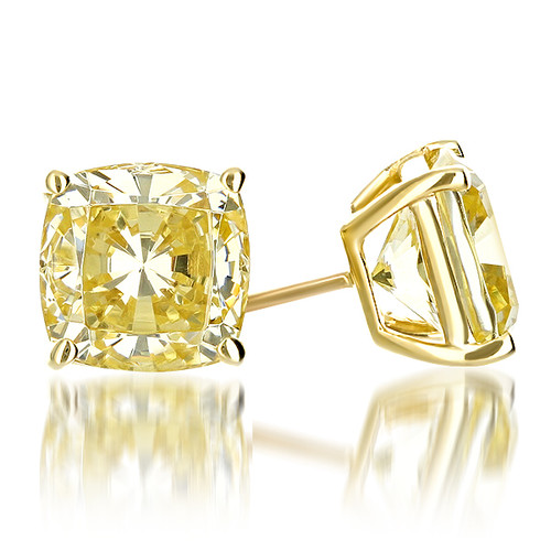 Canary Yellow Cushion Cut Cubic Zirconia Stud Earrings
