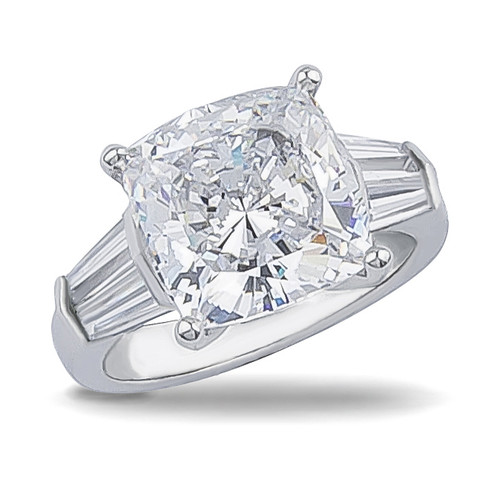 Cushion Cut Double Baguette CZ Solitaire Engagement Ring