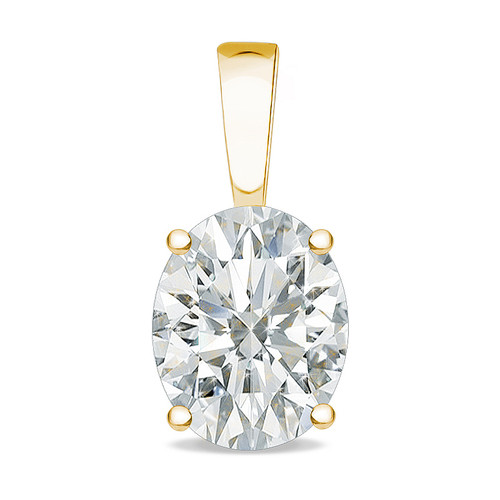 Allure Oval Cubic Zirconia Solid Bail Solitaire Pendant