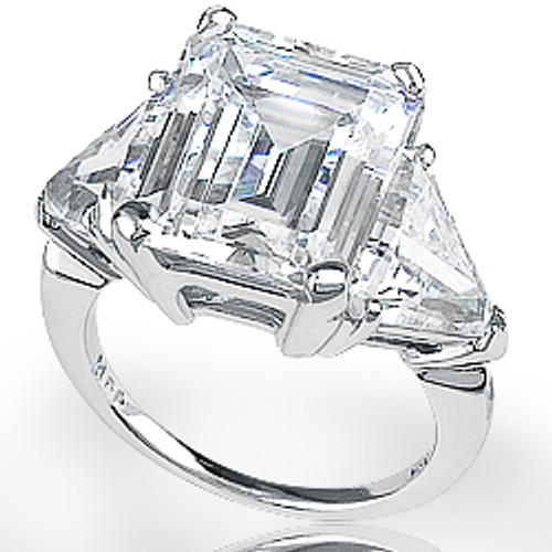 Emerald Classic Cut Three Stone Cubic Zirconia Trillion Ring