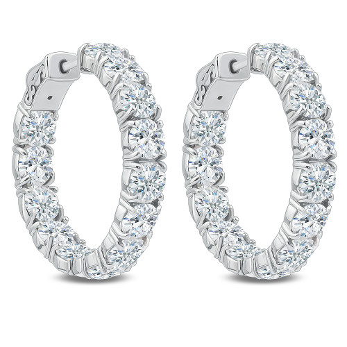 Bellamy Vault Lock Inside Out Rounds CZ Earring Hoops, 13.0 Carats Total