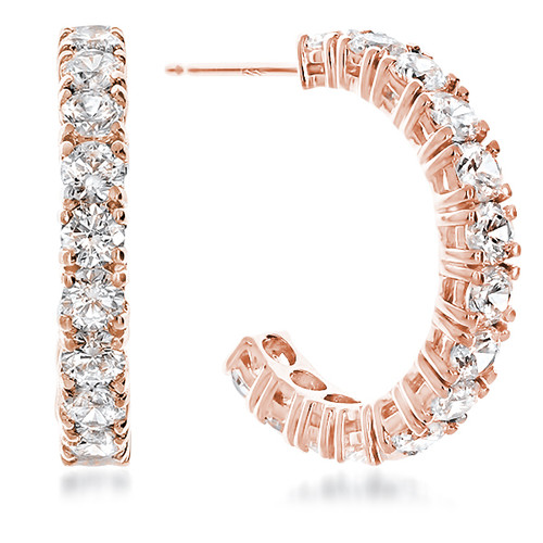 Sarah Medium Prong Set Round Cubic Zirconia Hoop Earrings