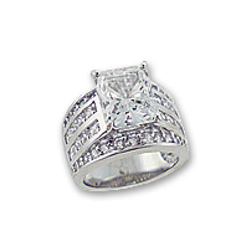 Nancy Emerald Cut with Princess Cuts & Rounds CZ Ring